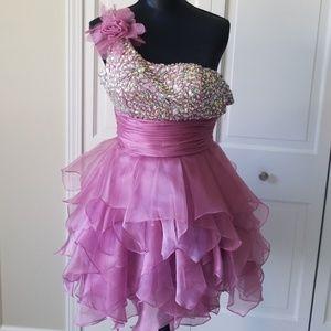 one strap mauve rhinestone homecoming/formal dress